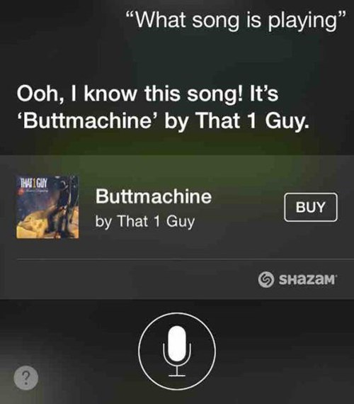 butt stuff,Music,shazam,siri,failbook