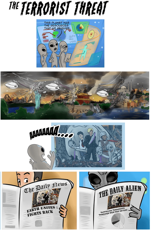 webcomic - Font - THE TERRORIST THREAT THIS PLANET HAS THE RESOURCES THAT WE REQUIRE. The Daily News THE DAILY ALIEN EARTH UNITES FIGHTS BACK EARTHLINe TERRORISTE THREATEN OUR WAY OFLIFE