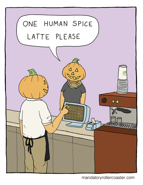 pumpkins,halloween,coffee,latte,web comics