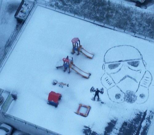 snow stormtrooper nerdgasm winter snow angels - 8355368704