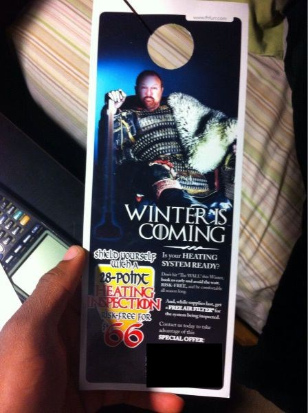 monday thru friday advertisement Winter Is Coming Game of Thrones