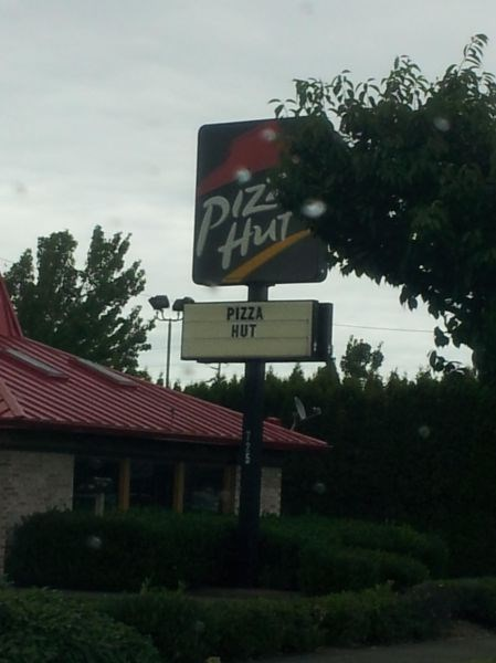 fast food,monday thru friday,pizza hut,sign,pizza