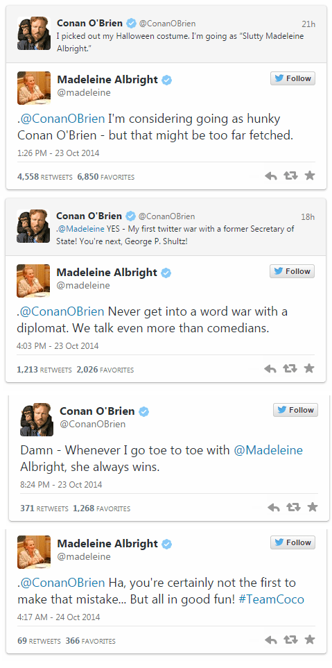 twitter Madeleine Albright conan obrien burn halloween failbook