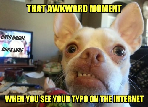 THAT AWKWARD MOMENT WHEN YOU SEE YOUR TYPO ON THE INTERNET CATS DROOL DOGS LURE