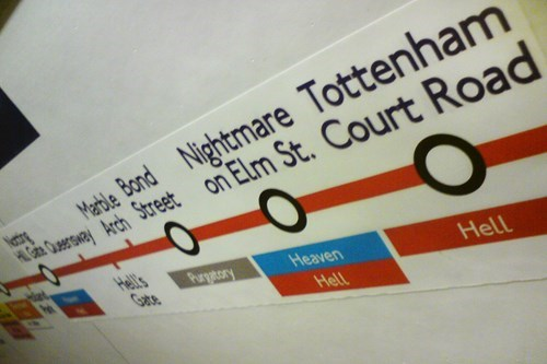 Text - Wertle Bond Nightmare Tottenham RanCersneyAch Street on Elm St. Court Road tr Hell's Gats Purgatory Heaven Hell Hell