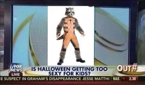 fox news,poorly dressed,halloween,rocket raccoon,g rated
