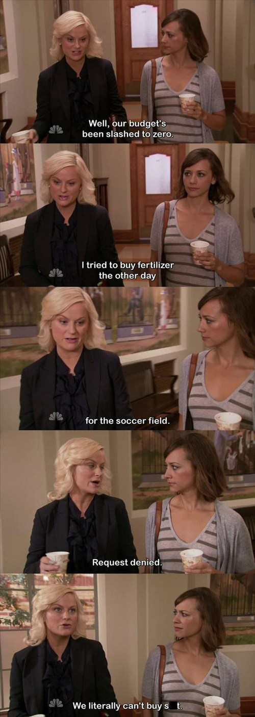 monday thru friday parks and recreation budget cuts screencap