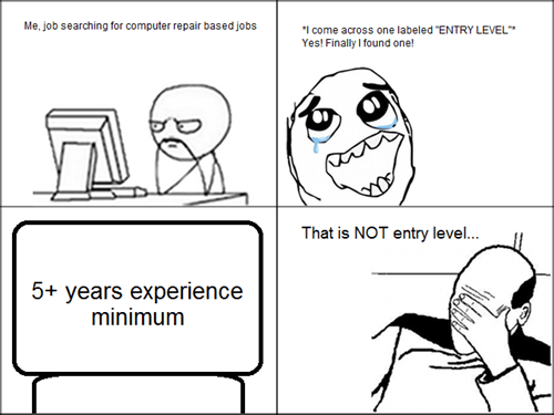 facepalm experience monday thru friday job hunt entry level - 8360925440