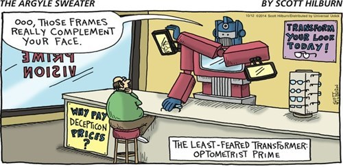 transformers glasses puns optimus prime web comics