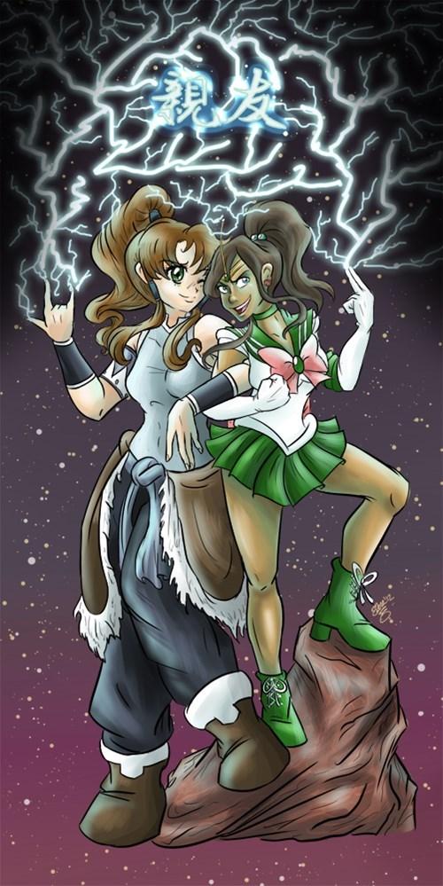 crossover anime Fan Art sailor moon cartoons korra - 8361023744