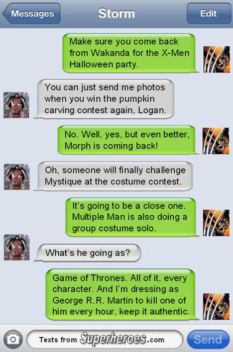 halloween,texts,wolverine,storm
