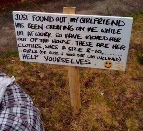 cheating funny girlfriend sign - 8361203712