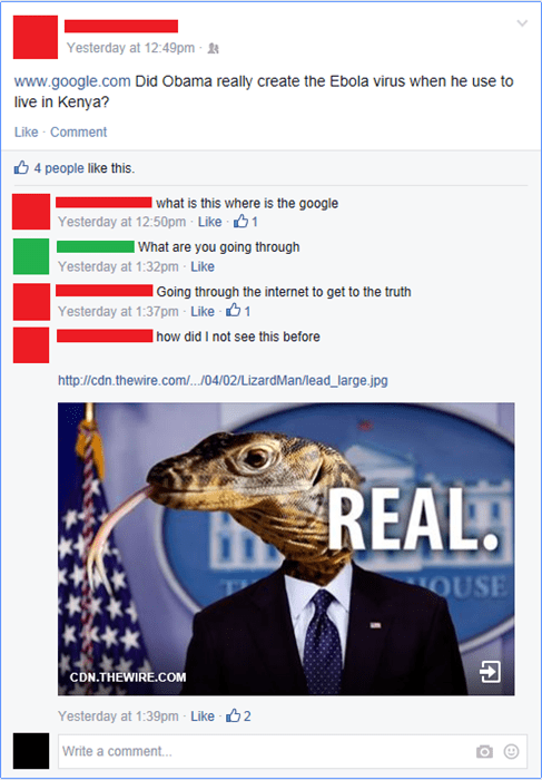 barack obama,conspiracy,ebola,lizard,failbook