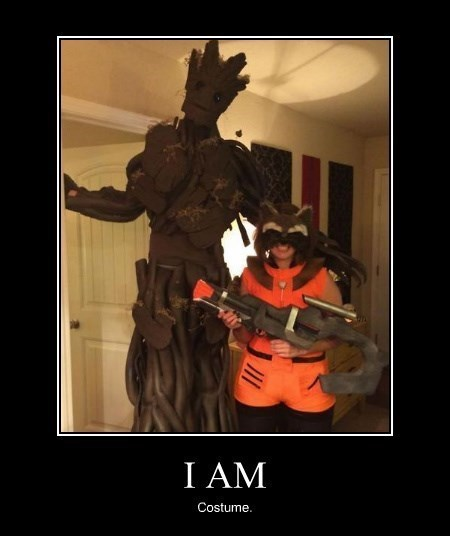 costume,halloween,guardians of the galaxy,rocket raccoon,groot,funny