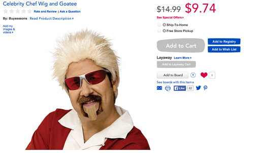 costume poorly dressed Guy Fieri toys r us celebrity chef g rated