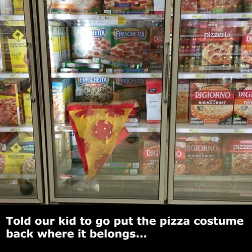 costume,pizza,kids,freezer,parenting,grocery store