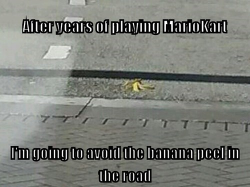 banana peels,Mario Kart,bananas,video games