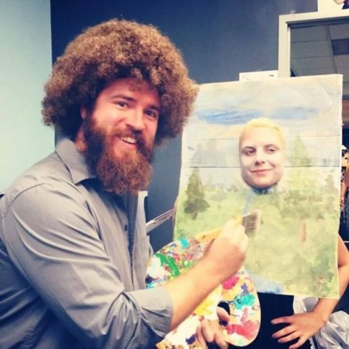 costume,poorly dressed,bob ross,painting