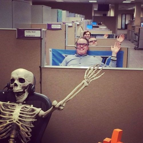 monday thru friday,skeleton,coworkers,waving,cubicle,g rated