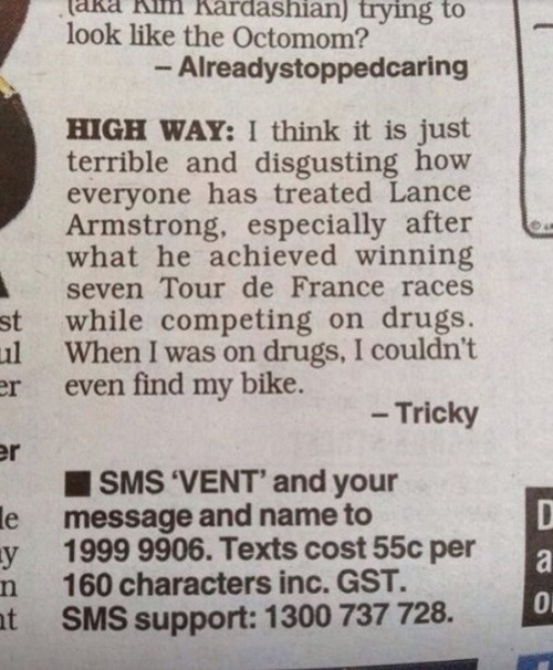 quote funny Lance Armstrong news after 12 - 8364338688
