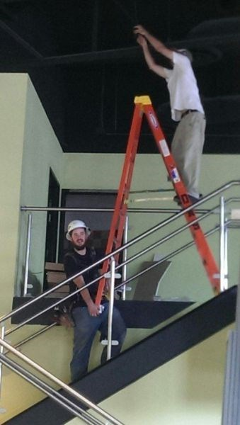 monday thru friday,ladder,safety first,stairs