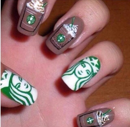 nails poorly dressed Starbucks coffee nail art - 8365527296