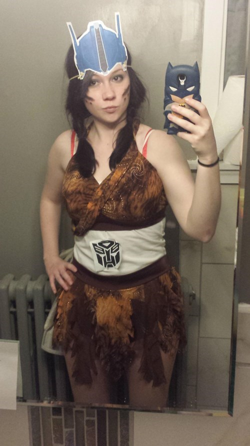 Selfie of woman wearing an Amazon Prime costume