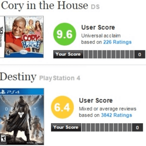 cory in the house,destiny,metacritic is dumb