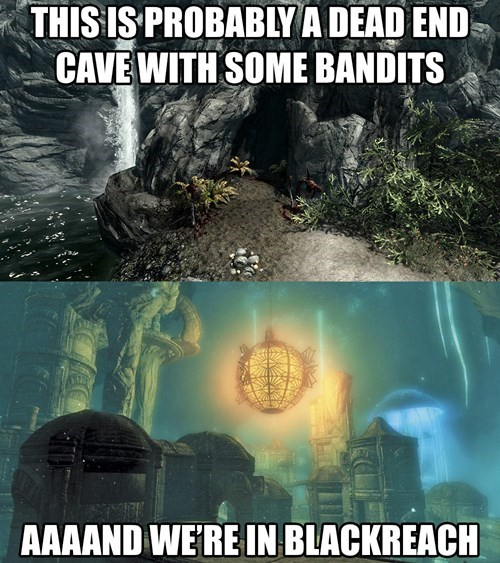 caves dungeon Skyrim