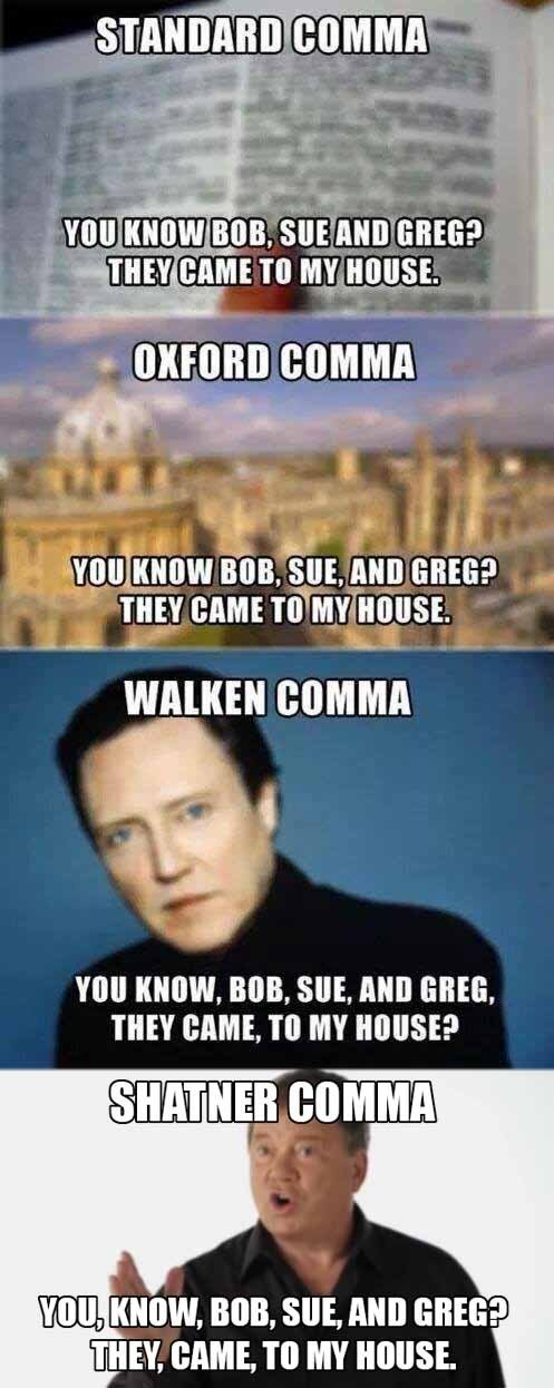 grammar,christopher walken,William Shatner,comma,funny
