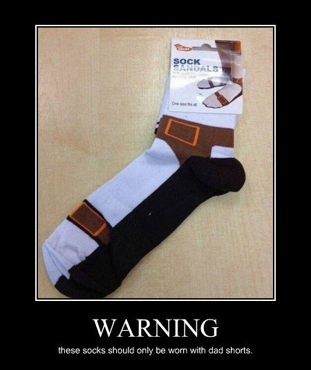 funny socks sandals warning wtf dad shorts - 8368347392
