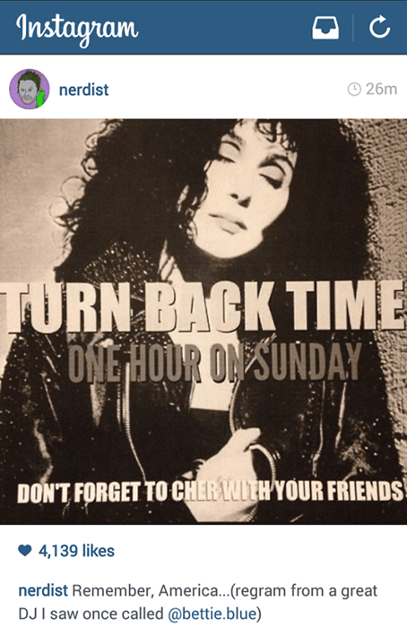daylight savings,instagram,cher