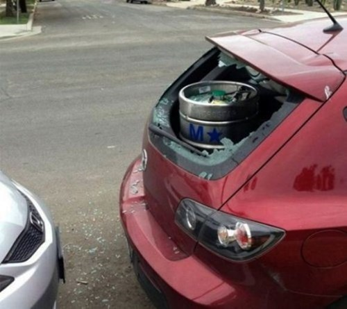 beer accident cars funny keg