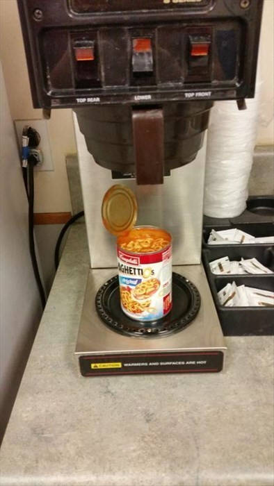 monday thru friday,spaghetti os,coffee maker,lunch,break room,g rated