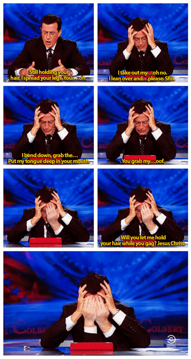 stephen colbert facepalm sexting funny - 8369263616