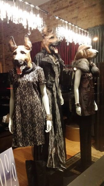 monday thru friday,dogs,poorly dressed,mannequin,retail,mask