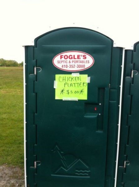 sign,porta potty,chicken,gross,accidental gross