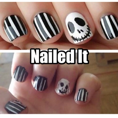 expectations vs reality,the nightmare before christmas,nail art,Nailed It