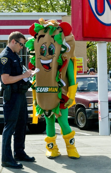 monday thru friday,costume,cops,sandwich,Subway