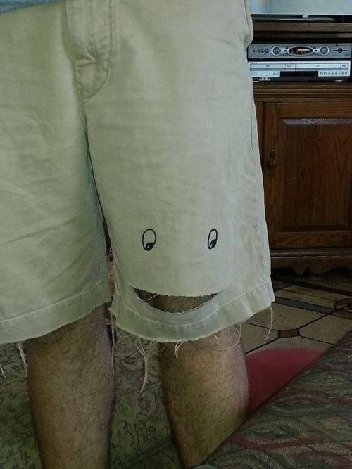 shorts,poorly dressed,rip,smile