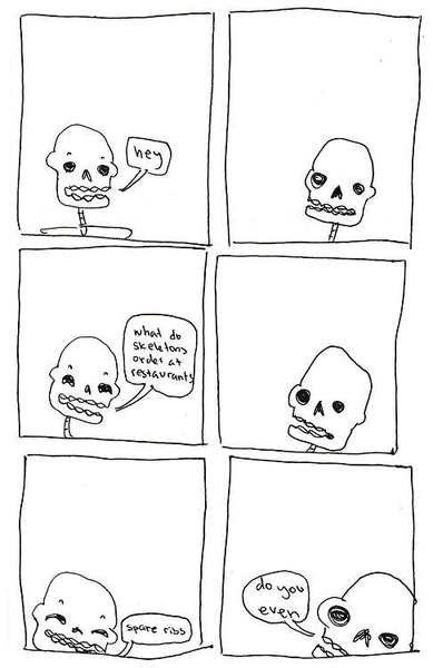 steak,puns,skeletons,web comics