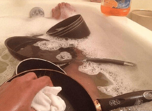Multitasking bath chores dishes