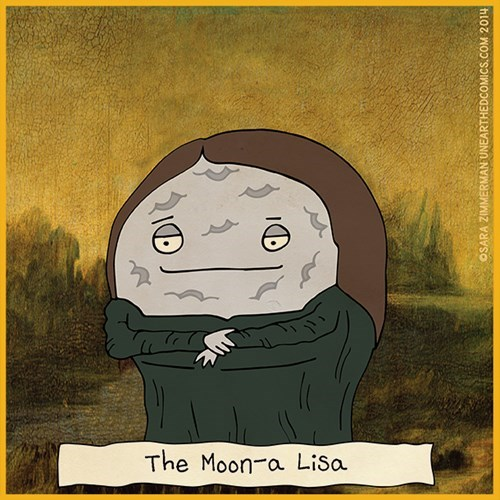 moon,puns,mona lisa,web comics