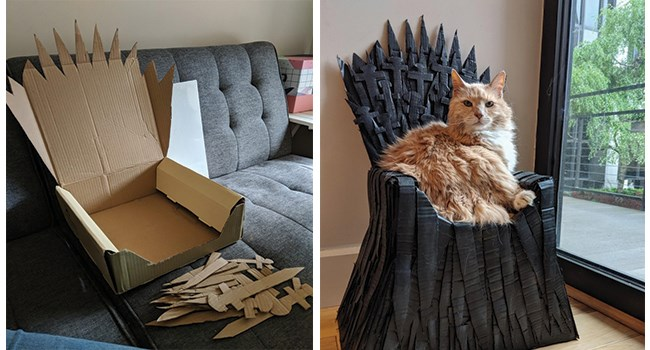 arthur Game of Thrones throne cute cardboard box iron throne funny cardboard king arthur - 8374021