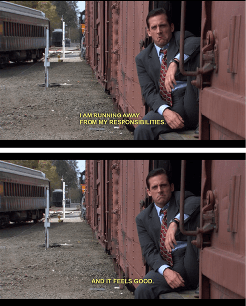 monday thru friday,responsibility,the office,Michael Scott,train,running away