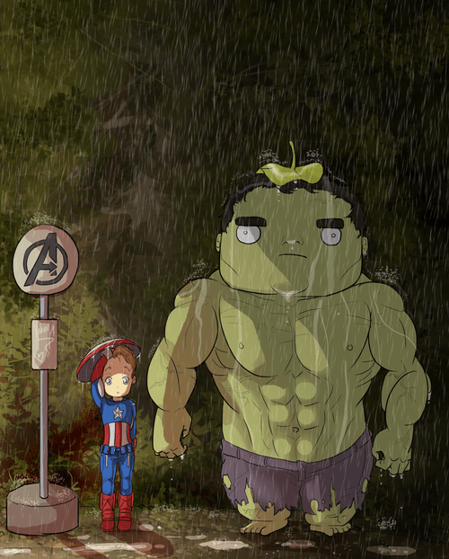 the incredibles,captain america,my neighbor totoro