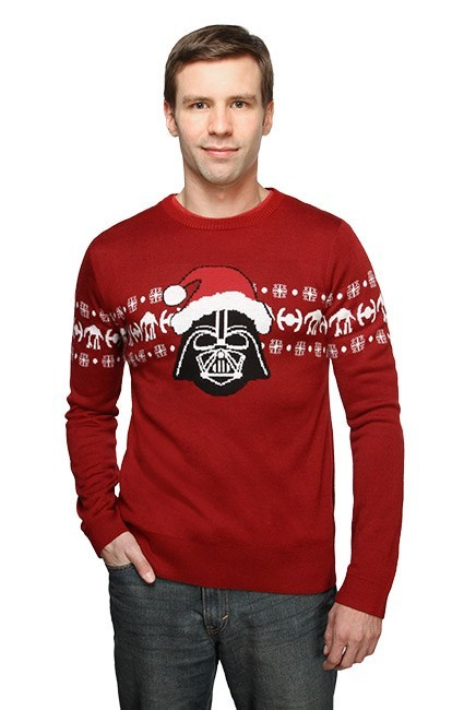 star wars poorly dressed christmas sweaters santa darth vader - 8374652928