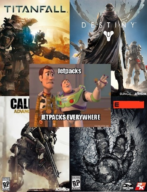 titanfall,jetpacks,Memes,call of duty advanced warfare,Evolve,first-person shooters