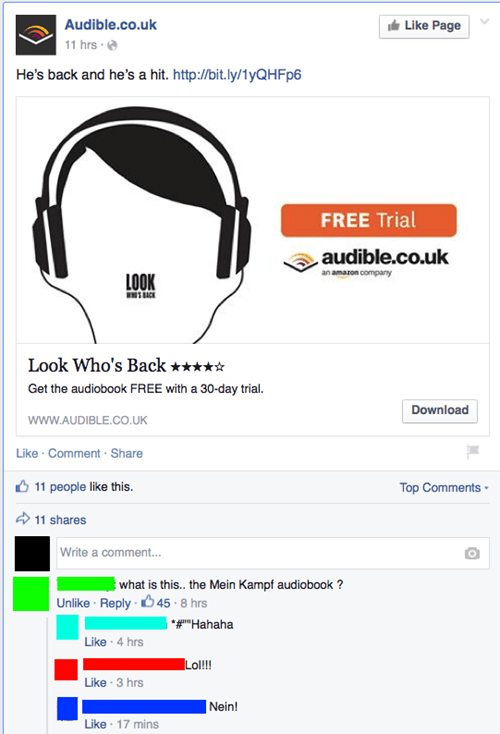 accidental creepy,advertisement,whoops,hitler,failbook