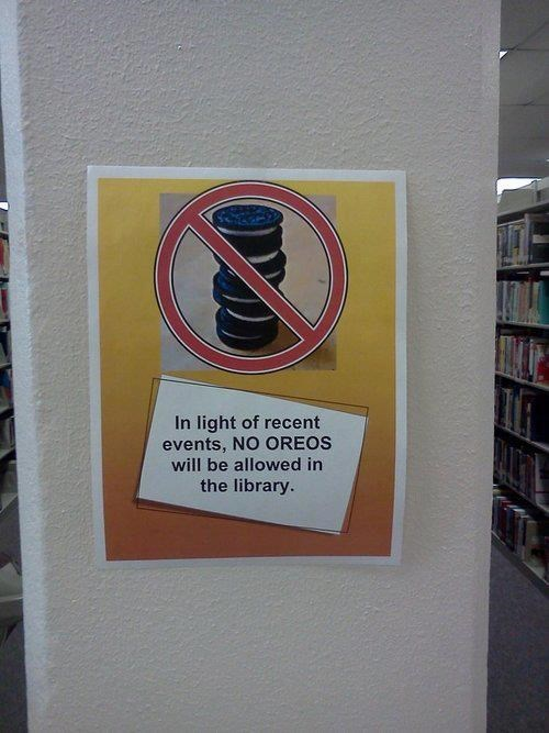 sign wtf oreo library funny cookies - 8374786304